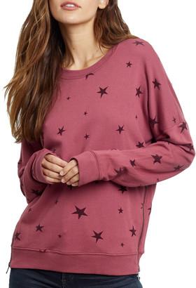 Rails Marlo Flocked Star Side-Zipper Sweatshirt