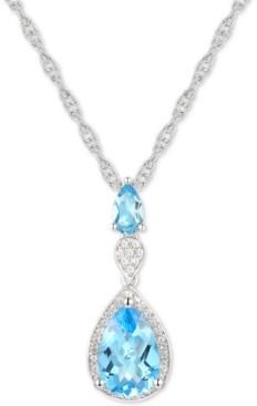 "Macy's Blue Topaz (2 ct. t.w.) & Diamond (1/10 ct. t.w.) 18"" Lariat Necklace in Sterling Silver"