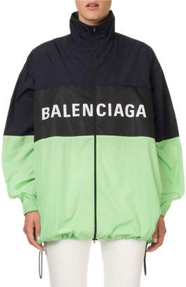 Balenciaga Colorblocked Zip-Front Logo Jacket