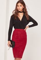 Missguided Faux Suede Midi Skirt Red