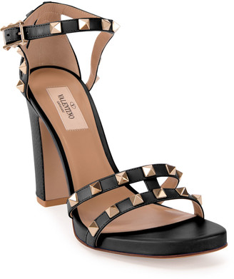 Valentino 105mm Rockstud Leather Chunky-Heel Sandals