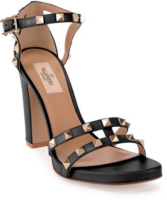 Valentino Garavani 105mm Rockstud Leather Chunky-Heel Sandals