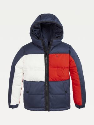 Tommy Hilfiger Colour-Blocked Hooded Down Jacket