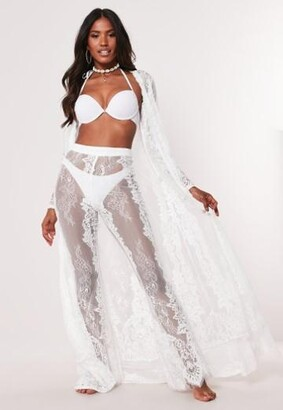 Missguided White Eyelash Lace Beach Kimono