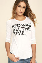 Chaser Red Wine Time White Long Sleeve Top