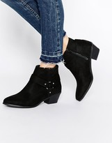 Head Over Heels By Dune Penley Black Western Ankle Boots
