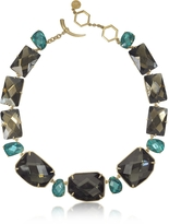 Tory Burch Goldtone Brass w/ Denim Blue Crystals Necklace