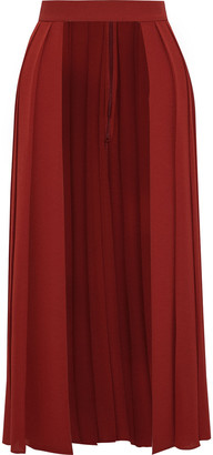 Emilia Wickstead Erduna Open-front Pleated Crepe Midi Skirt