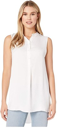 Vince Camuto Sleeveless Rumple Henley Tunic (New Ivory) Women's Clothing