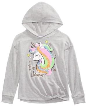 Beautees Big Girls Unique Flip Sequin Unicorn Hoodie Shirt