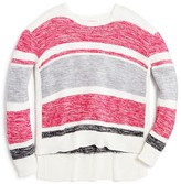 Design History Girls' Marled Stripe High Low Sweater - Big Kid