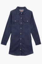 7 For All Mankind Girls S-Xl Long-Sleeve Snap-Up Denim Shirtdress In Rinsed Indigo