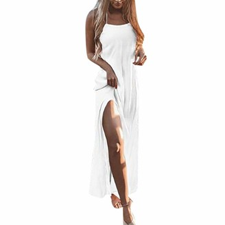 LEXUPE Women Comfortable Sexy Dresses Casual Fashion Summer Skirts Ladies Holiday Lace Up Ladies Pomisi Backless Beach Party Dress(White S)
