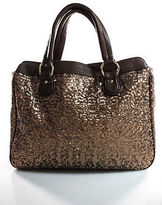 Deux Lux New Brown Sequin Leather Trimmed Medium Tote Handbag