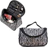 TraderPlus 2Pcs Handle striepd Large Cosmetic Bag Travel Makeup Organizer Case Holder With Mirror