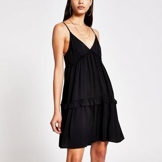 River Island Black tiered cami swing mini dress