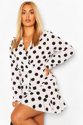 boohoo Plus Polka Dot Ruffle Skater Dress