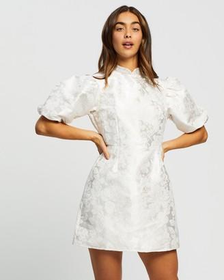 Missguided Puff Button Brocade Dress