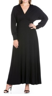 24seven Comfort Apparel Women's Plus Size Bishop Sleeves Maxi Dress
