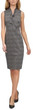 Calvin Klein Ponte-Knit Plaid Tie-Neck Dress
