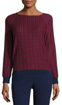 Armani Collezioni Striped-Jacquard Raglan Sweater, Red/Multi