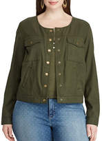 Chaps Plus Cropped Twill Jacket