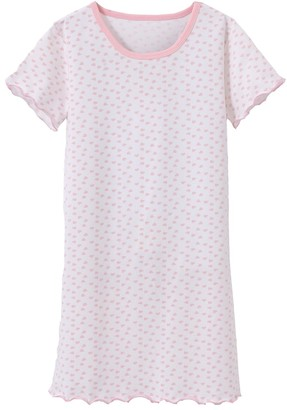 Abclothing Nightdress Nightshirt Girls Cute Heart Printed Sleep Shirt Soft Comfy Night Wear Nightie Pyjamas White 8-9 Years Old Tag 140