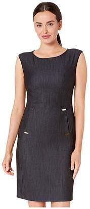 Calvin Klein Denim Dress w/ Hardware Detail at Pockets (Blue) Women's Dress