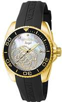 Invicta Women's Angel Quartz Watch with Mother of Pearl Dial Analogue Display and Black Plastic Strap 0489