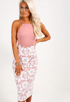 Pink Boutique Valentina Pink And White Lace Midi Dress