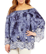 Bobeau Plus Off-the-Shoulder Tie Dye Embroidered Top