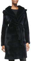 J. Mendel Mink Fur Hooded Tie-Waist Coat
