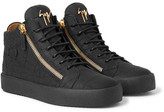 Giuseppe Zanotti Logoball Croc-effect Leather High-top Sneakers - Black