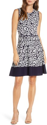 Eliza J Print Fit & Flare Sweater Dress