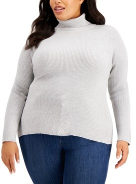 Style&Co. Style & Co Plus Size Metallic Turtleneck Sweater, Created for Macy's