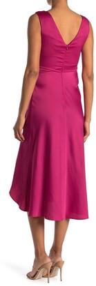 Taylor Asymmetrical V-Neck Satin Crepe Dress