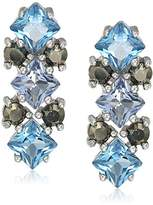 Judith Jack Sterling Silver/Swarovski Marcasite Blue Cluster Stud Earrings