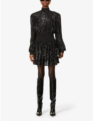 Balmain Puff-sleeve sequin-embellished mini dress