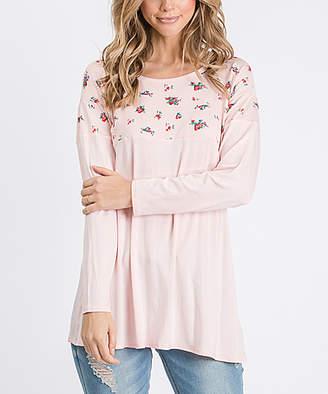 Cool Melon Women's Tunics Light - Light Pink & Fuchsia Floral Color Block Tunic - Women & Plus