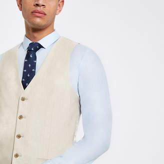 River Island Ecru linen suit waistcoat