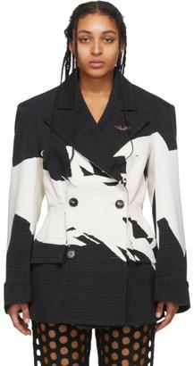 Maison Margiela Black and White Printed Blazer Coat