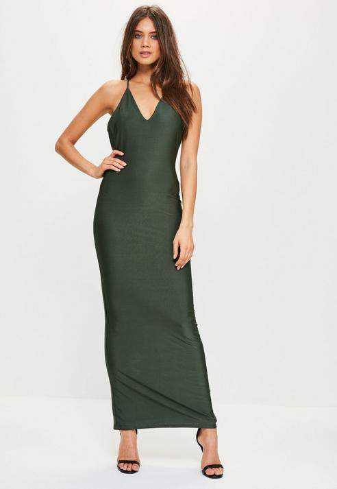 Missguided Slinky Cowl Back Strappy Maxi Dress