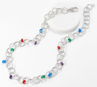 "Judith Ripka Verona Sterling Rainbow Gemstone 24"" Necklace"