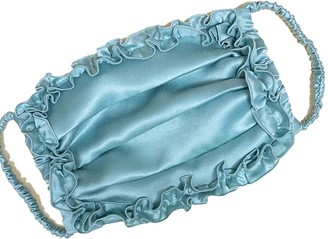 One Imaginary Girl Mint Lake Pleated Silk Charmeuse Face Mask With Ruffle Detail