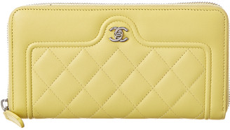 Chanel Yellow Quilted Calf Leather Zip-Around Wallet