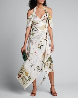 Monse Botanical Book Printed Halter-Neck Dress