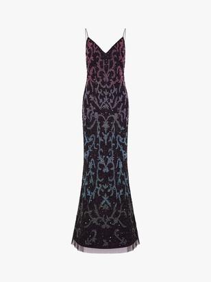 Adrianna Papell Beaded Mermaid Gown, Black/Multi