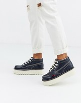 Kickers hi-stack leather boots in navy