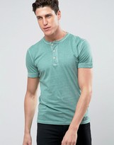 Abercrombie & Fitch Muscle Slim Fit Henley T-Shirt Rib Cuff Garment Dyed In Green