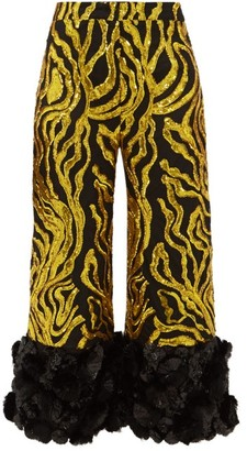 Halpern Vine-sequinned Applique-cuff Trousers - Gold Multi